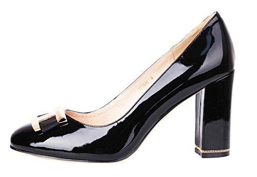 Verocara Women's 3.9inch Chunky Heel Ornament Decoration Genuine Leather Evening Dress Pumps Court Shoes Black Patent 9 UK