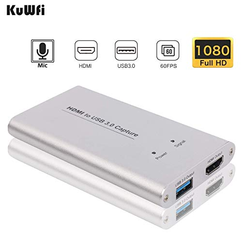 KuWFi HDMI USB Video Capture Device Card HD Video Converters Game Streaming Live Stream Broadcast 1080P with MIC Input for OBS/Vmix/Wirecast/skype-Silver