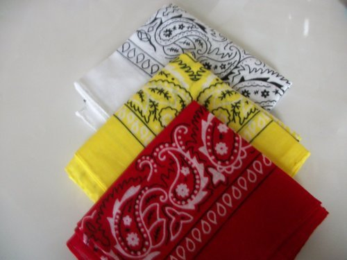 Three Pack Paisley Design Bandanas white yellow red. fast post by EXPRESS HATS