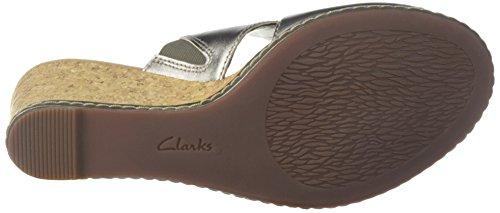 Clarks Womens Plate-forme Lafley Mio Cuir Métallique Détain