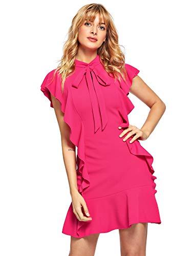 Floerns Women's Tie Neck Ruffle Hem Short Cocktail Party Dress Rose Red