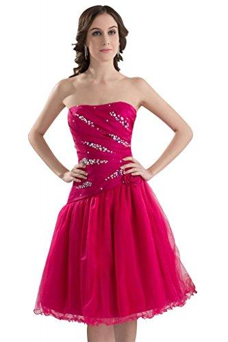 Elegantes Abendkleider mit Perlen Details Kurze GEORGE Rot BRIDE B61nWn5