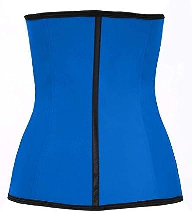 09f7e6e087 Amazon.com  Fxford Women s Sports Latex Waist Trainer Underbust Corset for  Weight loss waist cincher Body Shapewear FX110201 (Blue