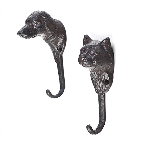 Superwind Set of 2(cat&dog) Cast Iron Animal Hook Strong Load-bearing Creative Home kitchen Decoration Hangers Coat Key Hooks with Screws,Dark Brown, Dog-1.9x5.5,Cat-1.9x5.3 by Superwind