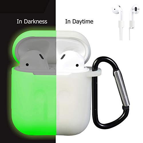 AirPods Case Cover, Silicone Protective Case and Skin for AirPods Charging Case with AirPods Anti-Lost Strap/AirPods Hooks, [Buy 1 Get 5 Accessories] (Glow)