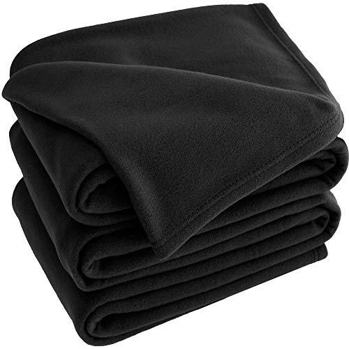 Bare Home Polar Fleece Cozy Bed Blanket - Hypoallergenic Premium Poly-Fiber Yarns, Thermal, Lightweight Blanket (King, Black)