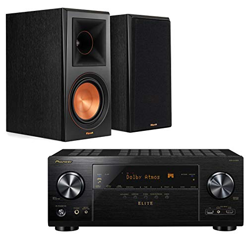 Pioneer Elite VSXLX303 9.2 Channel AV Netwrok Receiver Home Theater Starter Pack Bundle wtih Klipsch RP-600M Reference Premiere Bookshelf Speakers - (Pair) Ebony Vinyl