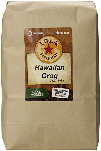 (Lola Savannah Hawaiian Grog Ground Coffee - Roasted Arabica Beans Bring The Flavors Of The Tropics To Your Cup Of Coffee | Caffeinated | 2lb Bag)