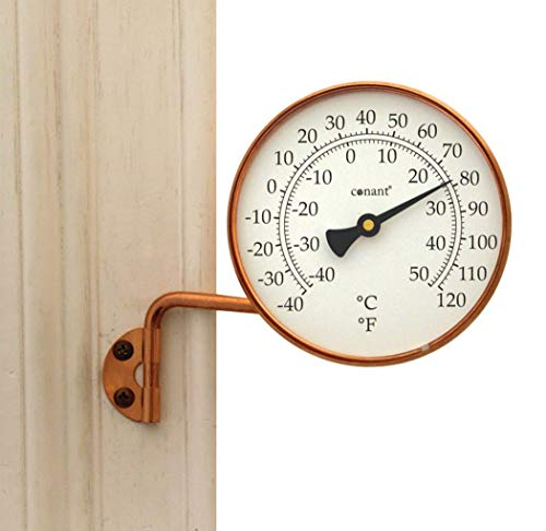 Copper Outdoor Bracket - Conant T6LFC Vermont Thermometer with Living Copper Finish