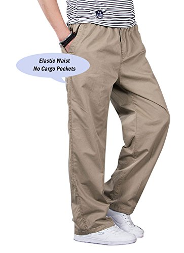 (Chartou Men's Active Elastic-Waist Loose Fit Cargo Pants Trousers (X-Large, Tan))