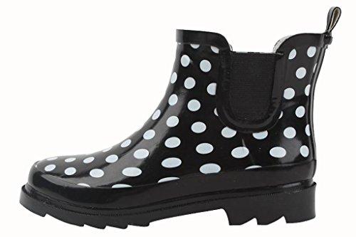 Starbay Women's Short Ankle Polka Dot Rubber Rain Boots Size 8 (Polka Dot Booty Shorts)