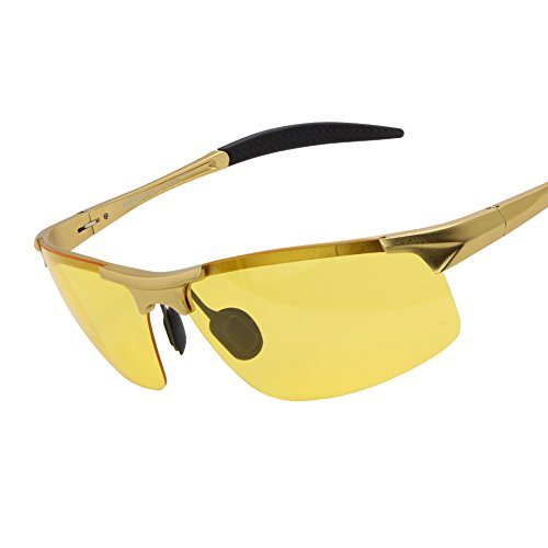 Duco Night-vision Glasses Polarized Night Driving Men's Shooting Glasses 8177 (Gold, - Driving No Glasses Glare