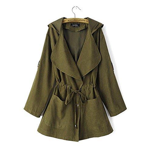 Manga Jacket Verde Abrigo Otoño Coat Chaqueta Militar Capucha Larga mujer Minetom con para qwZ6PXxvF