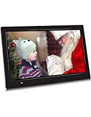 Digital Photo Frame with Motion Sensor 10 inch Jimwey 1080P HD IPS LCD Display Electronic Picture Frame, HD Video/ MP3/ Electronic Photo/Advertising Display/ Digital Clock/ Calendar Mother's Day gifts