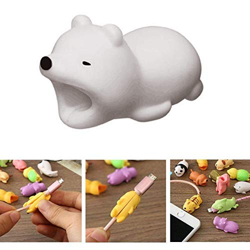 DECVO Cable Protector Compatible with iPhone iPad Android Samsung Galaxy Cable Plastic Cute Ocean Animals Phone Accessory USB Charger Data Protection Cover Chewers Earphone Cord Bite (WhiteBear)