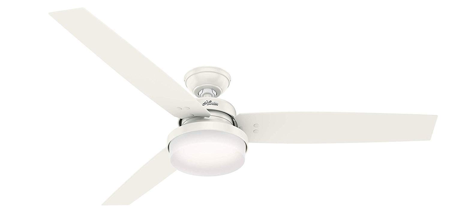 Hunter 60'' Sentinel Fresh White Ceiling Fan with Light with Handheld Remote