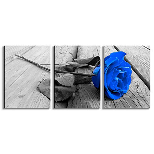 Youshion Art-Modern Canvas Painting Wall Art For living Room The Picture For Home Decoration Beautiful Blue rose flower Print On Canvas Giclee Artwork For Wall Decor 12x16Inch x3 Panels