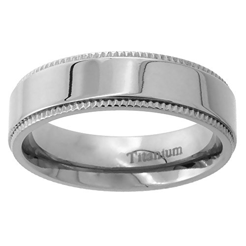 Titanium Wedding Milgrain Polished Comfort