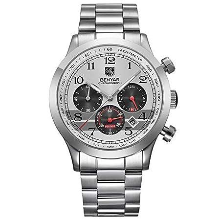 Amazon.com : My Amazing New Store Men Watch Top Brand Luxury Sport Clock - L Silver Red B : Sports & Outdoors