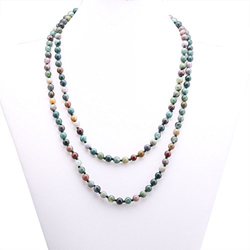 6mm India Agate Beads Necklace Women Handmade Long Necklace Stone Beads Necklaces 47""