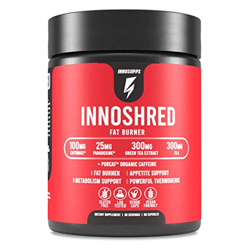Inno Shred – Day Time Fat Burner | 100mg Capsimax, Grains of Paradise, Organic Caffeine, Green Tea Extract, Appetite…