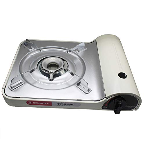Gas Cooker White (SENGOKU BDZ-254-TH1(White) Portable Camp Kitchen Gas Cooker Outdoor Kitchen Folding Mini Burner Firing Stove Excellent Camping Equipment Outdoor)