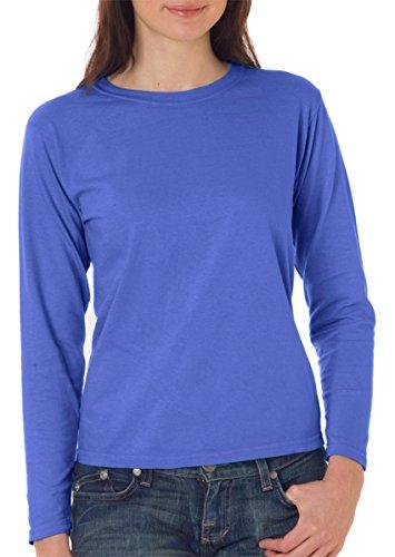 Ribbed Womens Cotton Tee (Ladies' Long-Sleeve Cotton Tee (Flo Blue PgmDye) (2X-Large))