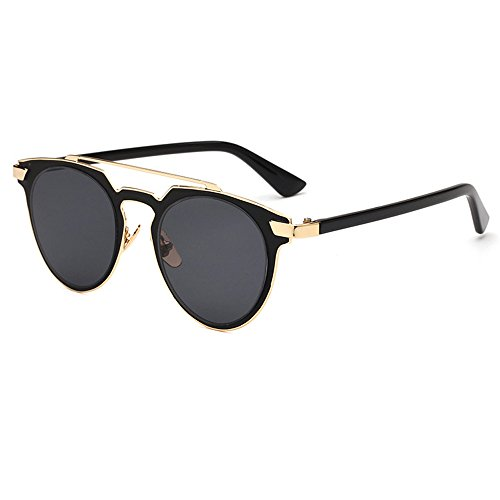 Amomoma Fashion Aviator Sunglasses Flat Reflective Cateye Metal Eyewear - Sunglasses Free Shipping