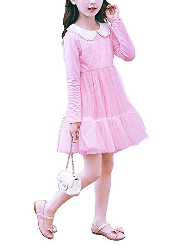 Girls' Tulle Dress Long Sleeve Lace Flower White Doll Collar Princess Dress Light Pink Tag 140 (8-9 Years)