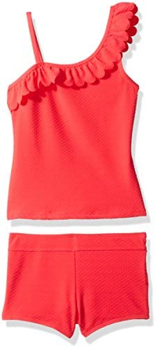 Jessica Simpson Girls Big Scalloped One Shoulder Tankini Two Piece Swimshort Set