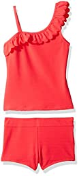 Jessica Simpson Big Girls\' Scalloped One Shoulder Tankini Two Piece Swimshort Set, Coral, 16