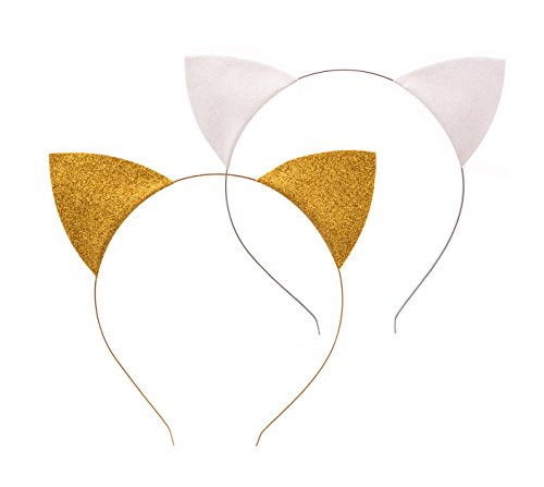 Floral Fall 2 Park Shiny Halloween Cat Ear Headband Festival Girls Cat Costume Hairband F-97 (Gold White)