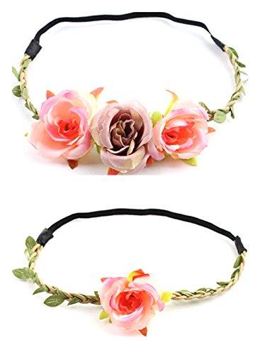 Flower Crown Flower Headband women and Baby Toddler Woodland Green Leaf Floral Crown Wreath (Flower - (Crystal Berry Wreath)