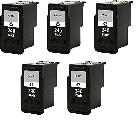 5/Pack PG 240xl Black Ink cartridges Compatible with: PIXMA MG 2120 2140 2220 3120 3122 3140 3220 3520 4120 MX 372 374 392 432 434 439 452 459 (Pixma Mx 472)
