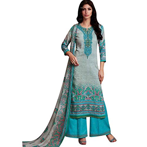 (Ladyline Cotton Print & Embroidered Palazzo Salwar Kameez Suit Gray)