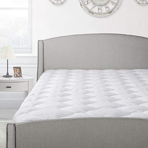 Cardinal & Crest Overfilled Thick Pillow Top Mattress Pad with Fitted Skirt - Luxury Comfort Down Alternative Mattress Protector - Overfilled Mattress Topper Made in The USA - King Size