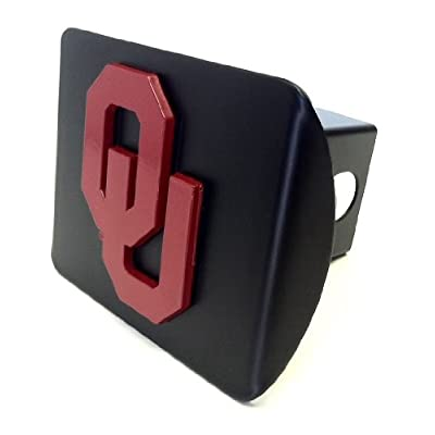 Elektroplate University of Oklahoma Sooners Black with Red OU Emblem Metal Trailer Hitch Cover Fits 2 Inch Auto Car Truck Receiver with NCAA College Sports Logo: Automotive