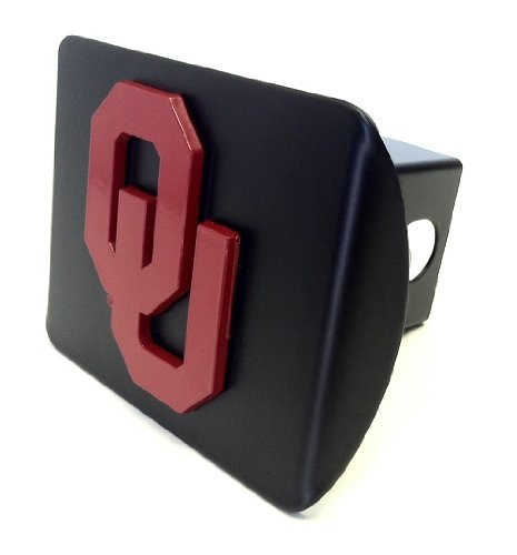University of Oklahoma Sooners ''Black with ''Red OU'' Emblem'' Metal Trailer Hitch Cover Fits 2 Inch Auto Car Truck Receiver with NCAA College Sports Logo by Elektroplate