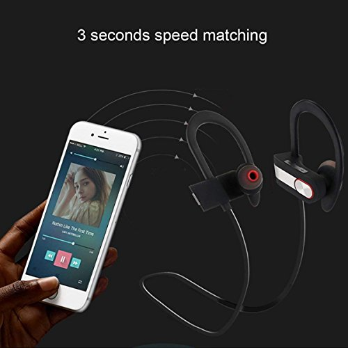 Nanle HD Stereo Wireless Headphones Curve Bluetooth 4.1 Best Sports Earphones Waterproof Sound Sweatproof Earbuds for Gym Running Workout 8 Hour Battery Noise Cancelling Headsets (Color : Red) by Nanle (Image #4)