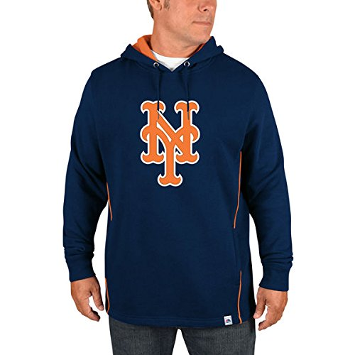 Majestic Athletic New York Mets Lefty Righty Pullover Hooded Sweatshirt (Medium) ()