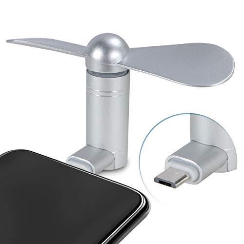 Cell Phone Fan, Portable Aluminum Alloy Shell Mobile Phone Fan Cooling Fan Air Conditioner Cooler, Mini Fan for Android Cell Phone, Compatible for Type C or Micro USB Port Phone Fan(Micro USB, Silver)