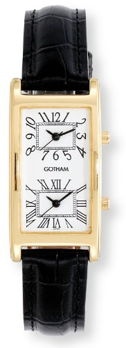 Gotham Men's Gold-Tone Dual Time Zone Leather Strap Watch # ()