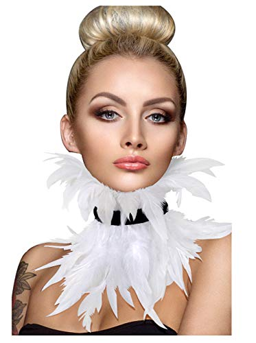 L'VOW Gothic Victorian Natural Feather Choker Neck Wrap Collar for Halloween Cosplay (White)