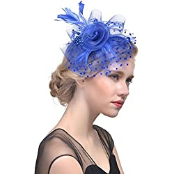 Challyhope Clearance! Fascinators Hat Flower Mesh Ribbons Feathers Headband Forked Clip Wedding Cocktail Tea Party Hat Headwear for Womens Girls (Navy I)