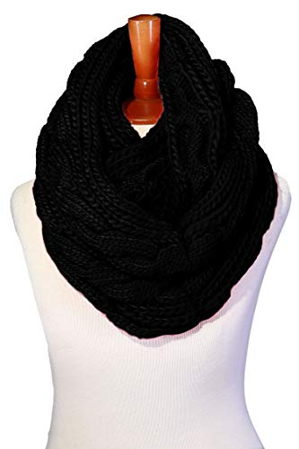 - Basico Women Winter Chunky Knitted Infinity Scarf Warm Circle Loop Various Colors (Cable Black)