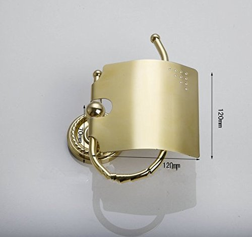 GOWE Luxury European Polished Golden Brass Bath Hardware Towel Rack Toilet Brush Hook Paper Holder Other 5Pcs Set by Gowe (Image #3)