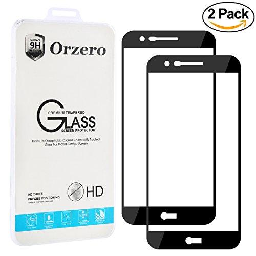 [2 Pack] Orzero LG K20 V / K20 Plus / V5 / LG Harmony / K10 (2017 version ) [ Full Coverage ] Tempered Glass Screen Protector, HD Anti-Scratch Anti-Fingerprint [Lifetime Replacement Warranty]-Black