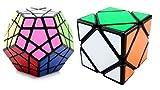 Mayatra's Combo Of 2 - Shengshou Megaminx Black/White Speed Cube & Magic Puzzle Cube Square Tuning Spring Skewb Toy