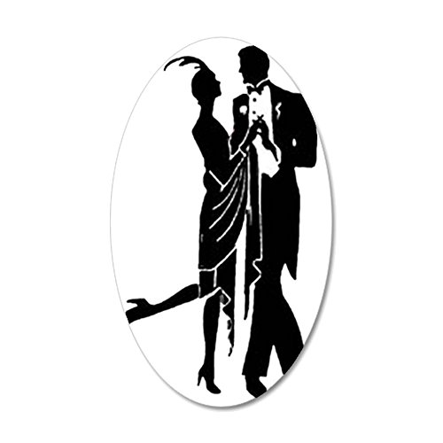 CafePress - Elegant 1920S Couple Dancing - 35x21 Oval Wall Decal, Vinyl Wall Peel, Reusable Wall (1920s Room Decor)