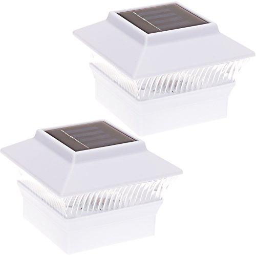 GreenLighting Solar Powered 18 Lumen 4 x 4 LED Fence Post Cap Lights for PVC Posts